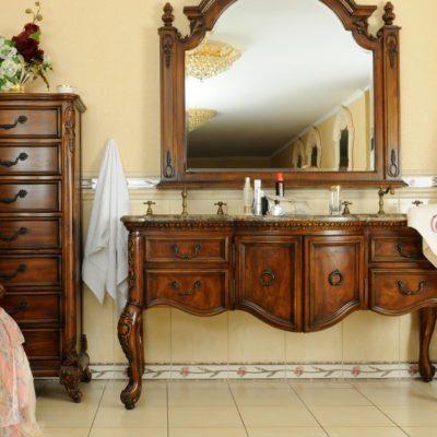 K08-SM – Komoda łazienkowa łącznie z umywalką, kranem oraz lustrem